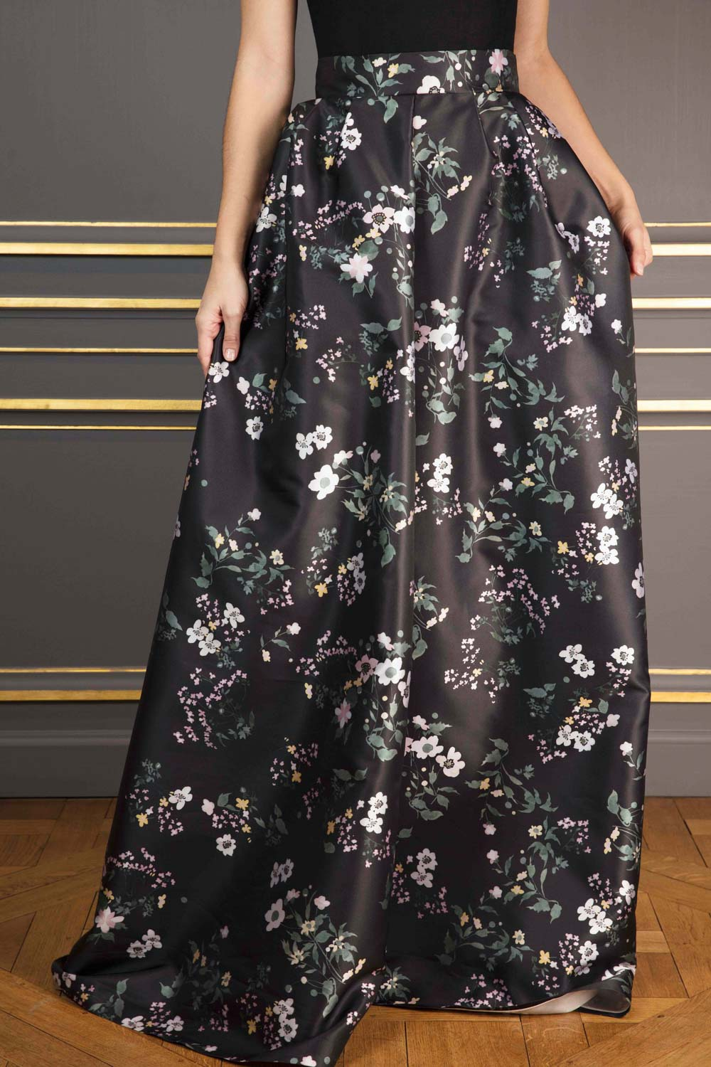 Washed-black floral-print duchesse satin A-line maxi skirt