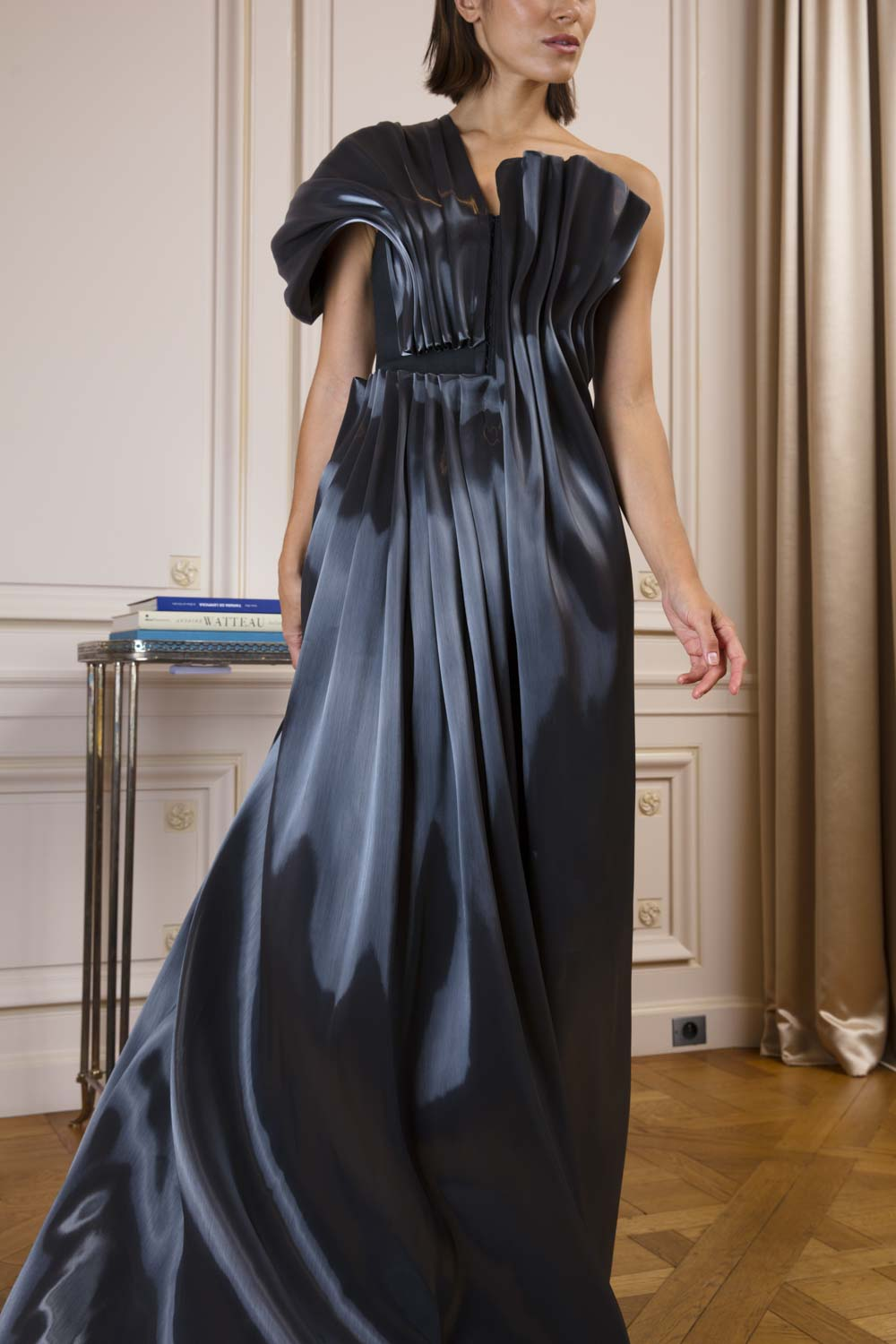 Three-piece evening ensemble with pleated 'molten' panels