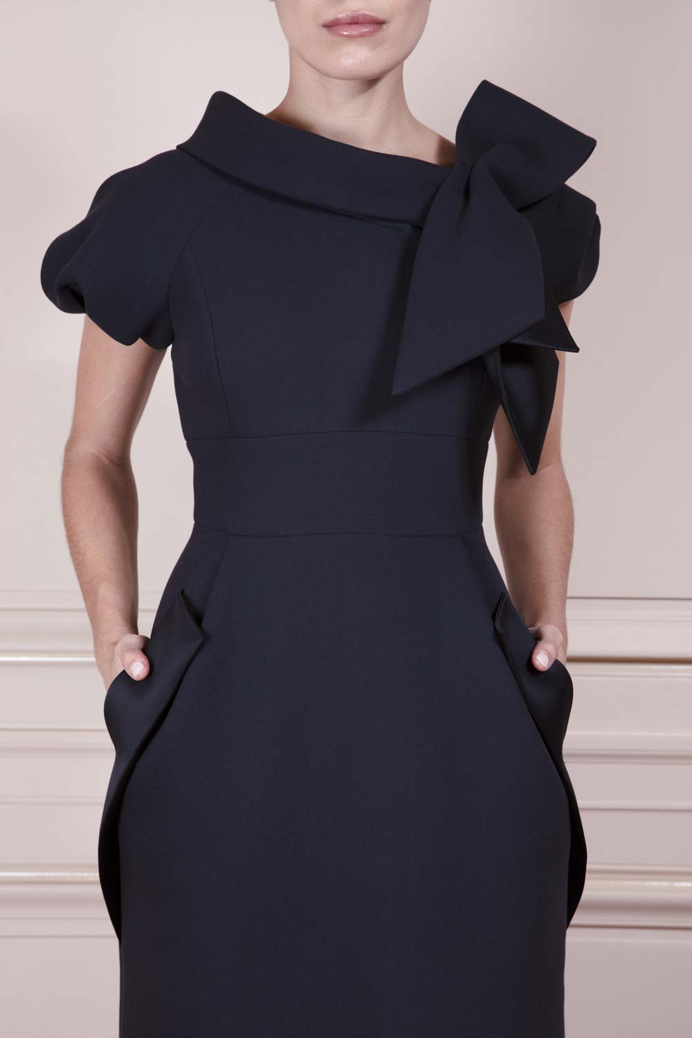Midnight blue sheath dress with oversized black satin-backed bow