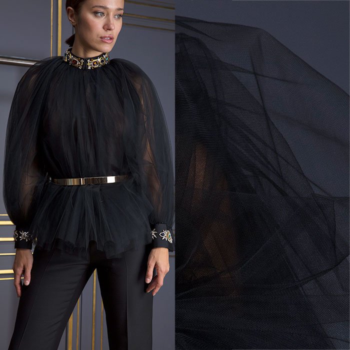 Embellished sheer black tulle blouse