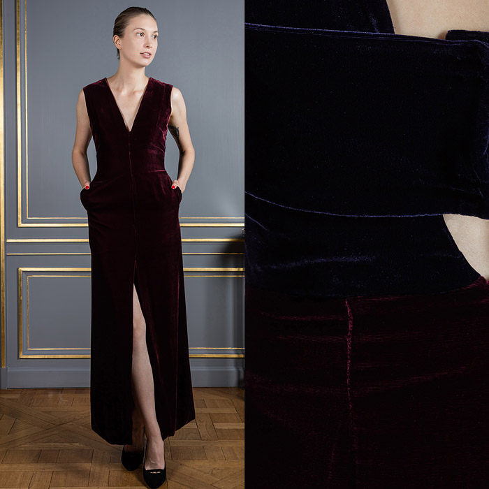 Burgundy floor-length dress