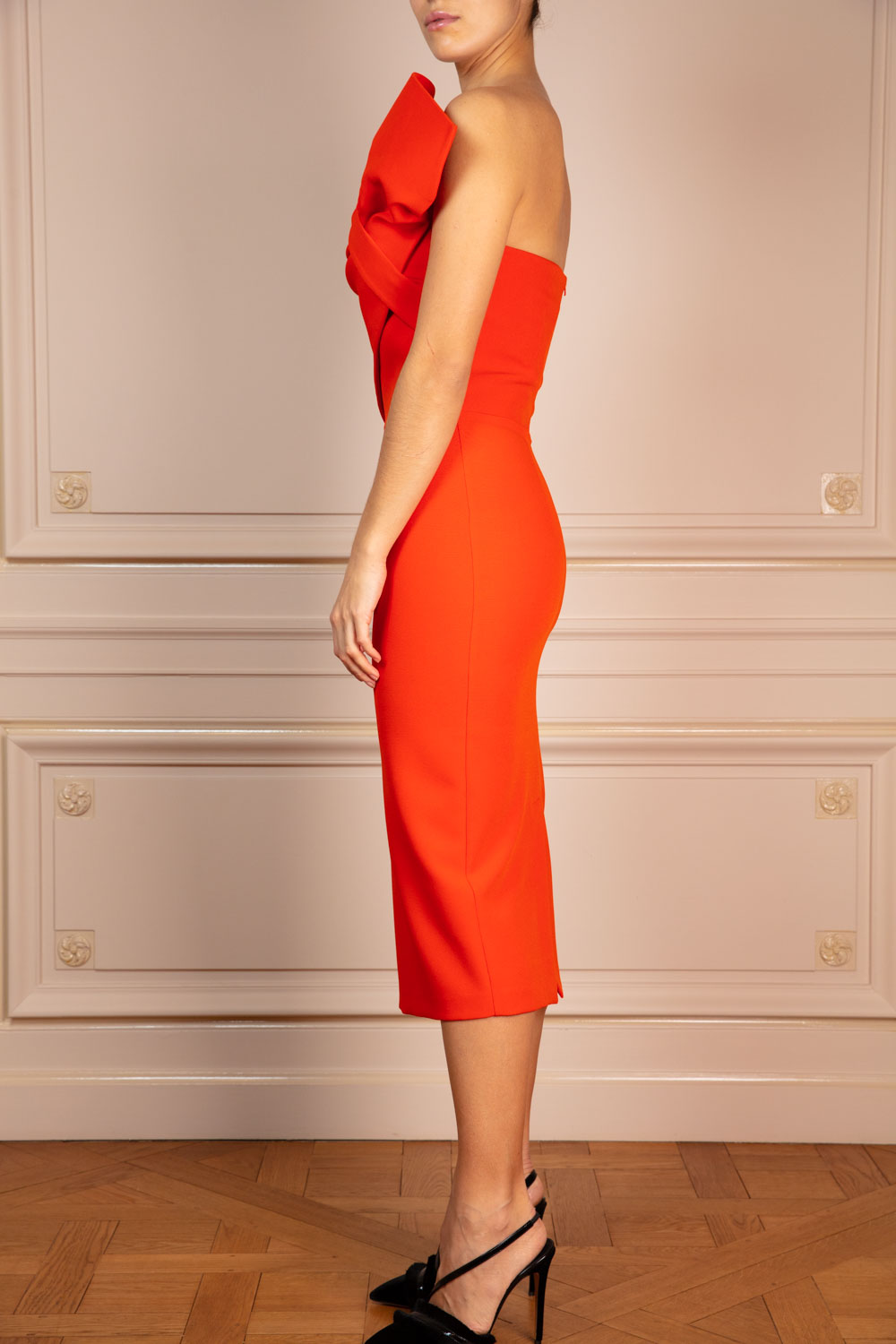 Bustier pencil dress with couture bodice ruffle