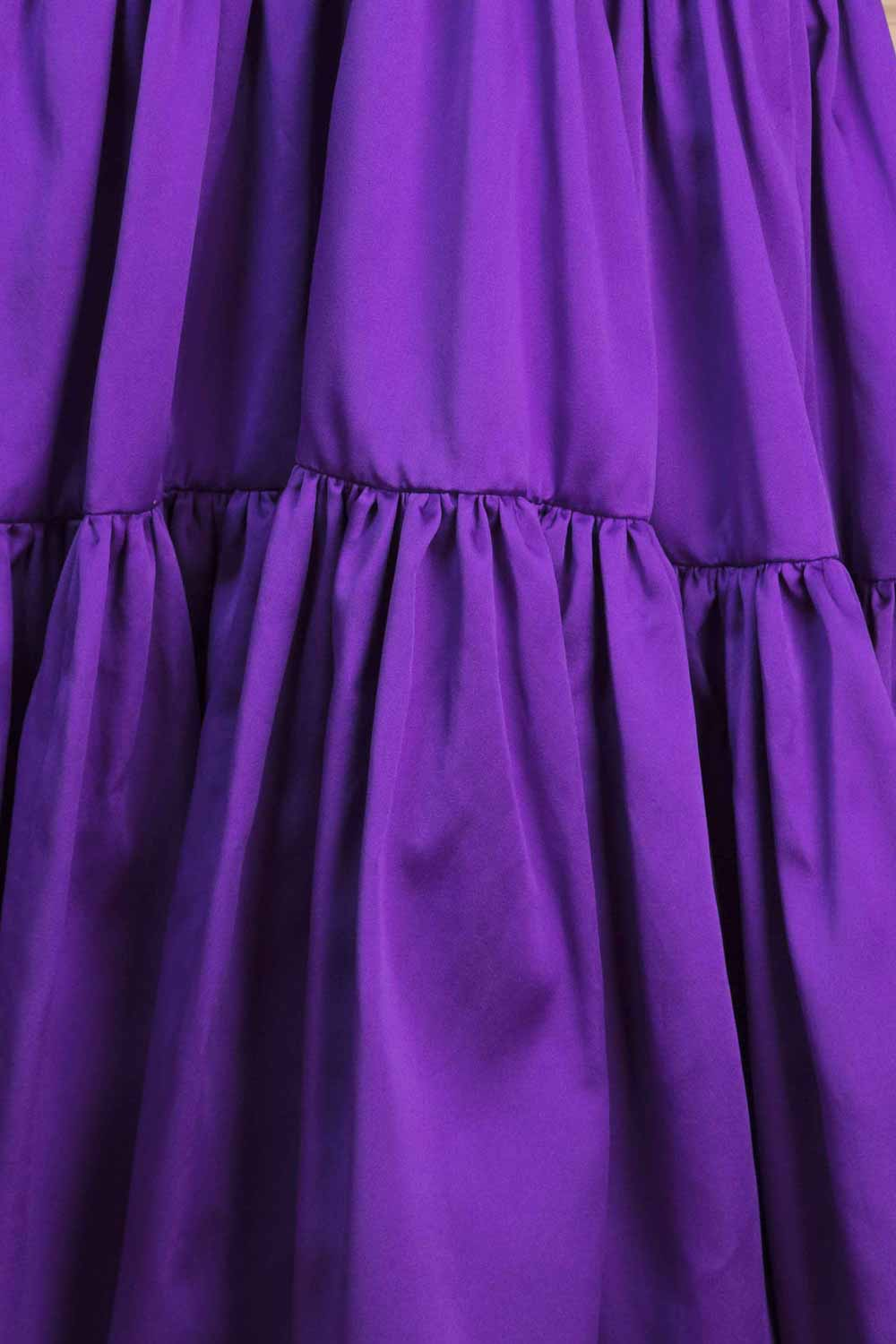 Full-length tie-waist tiered dress in heavyweight ultra-violet satin