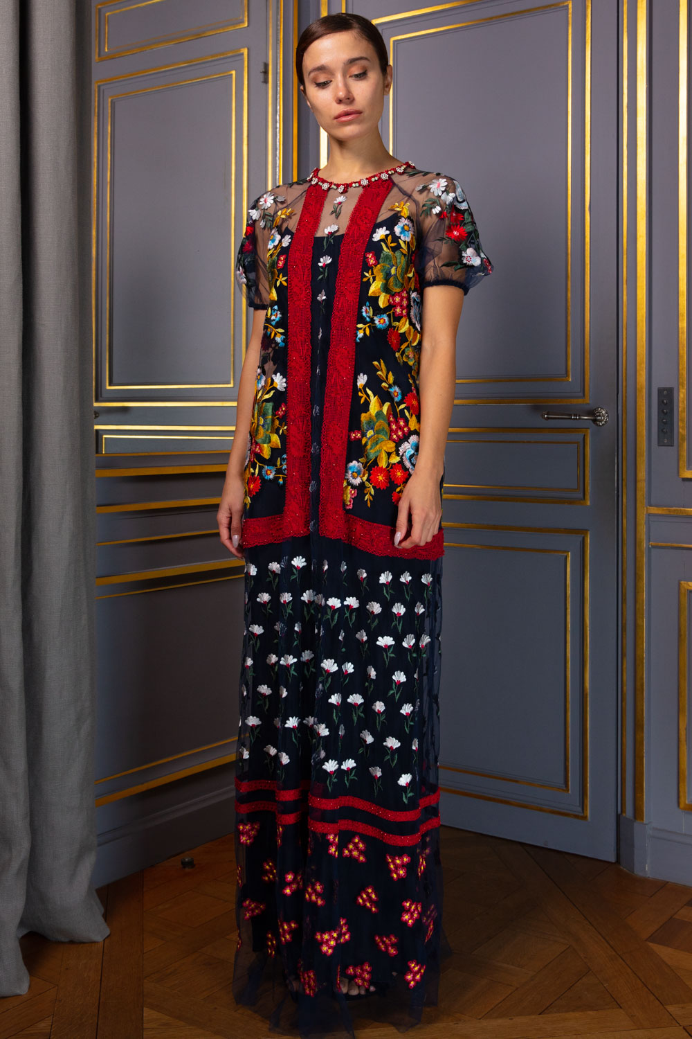 Long hand-embroidered patchwork dress