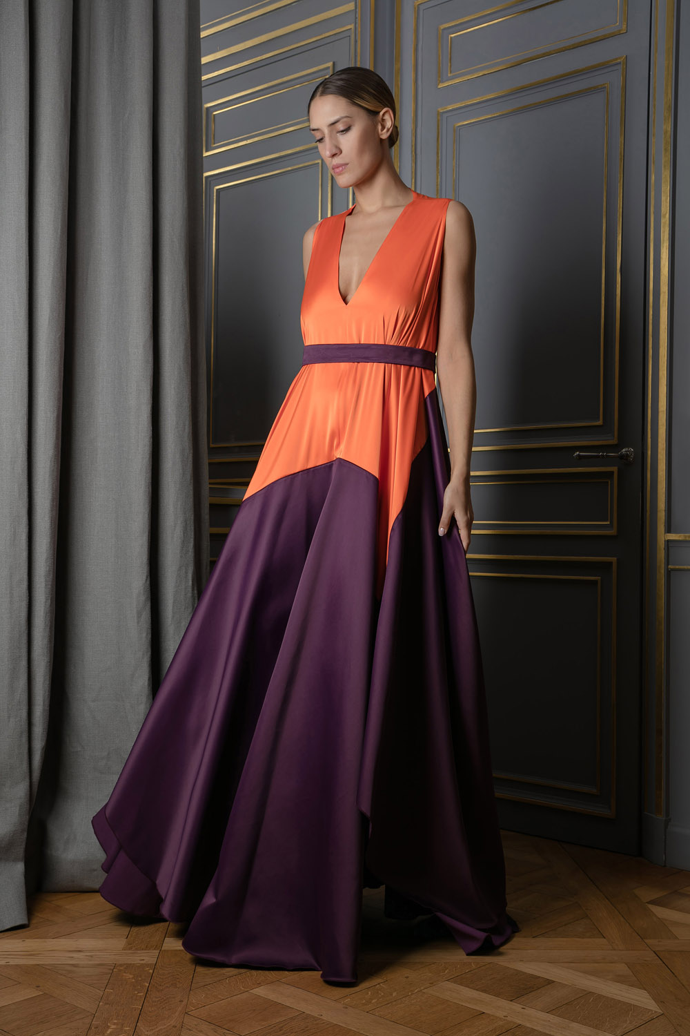 Plunging V-neck gown