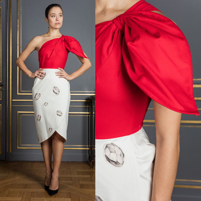 Red and white 1-shoulder sheath dress