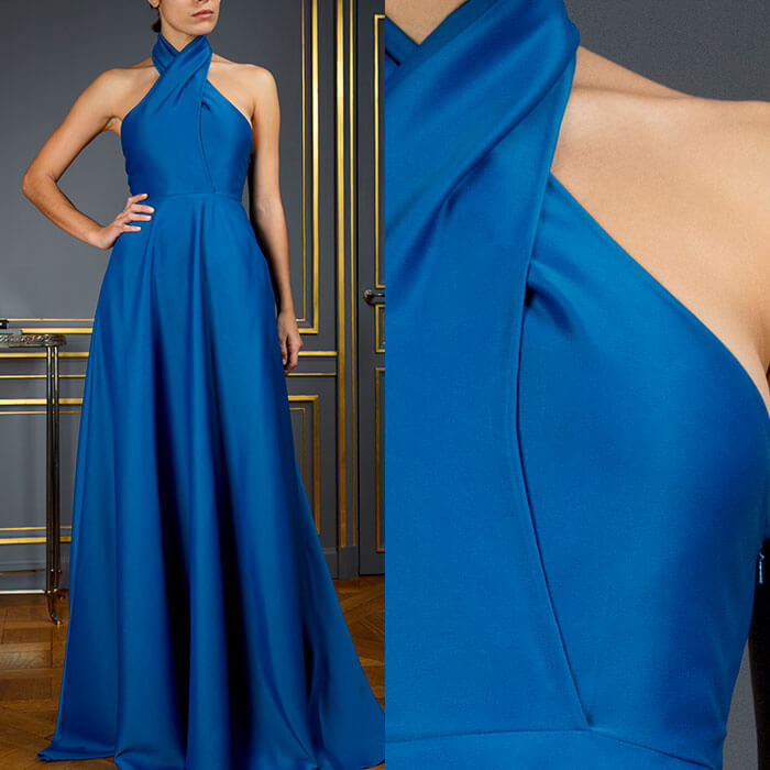 Cerulean blue halter-neck gown