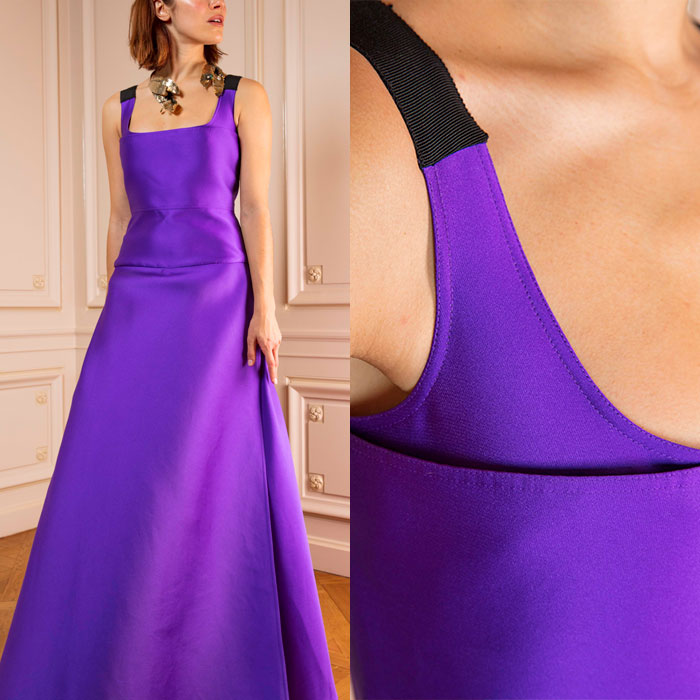 Purple floor-length satin gown