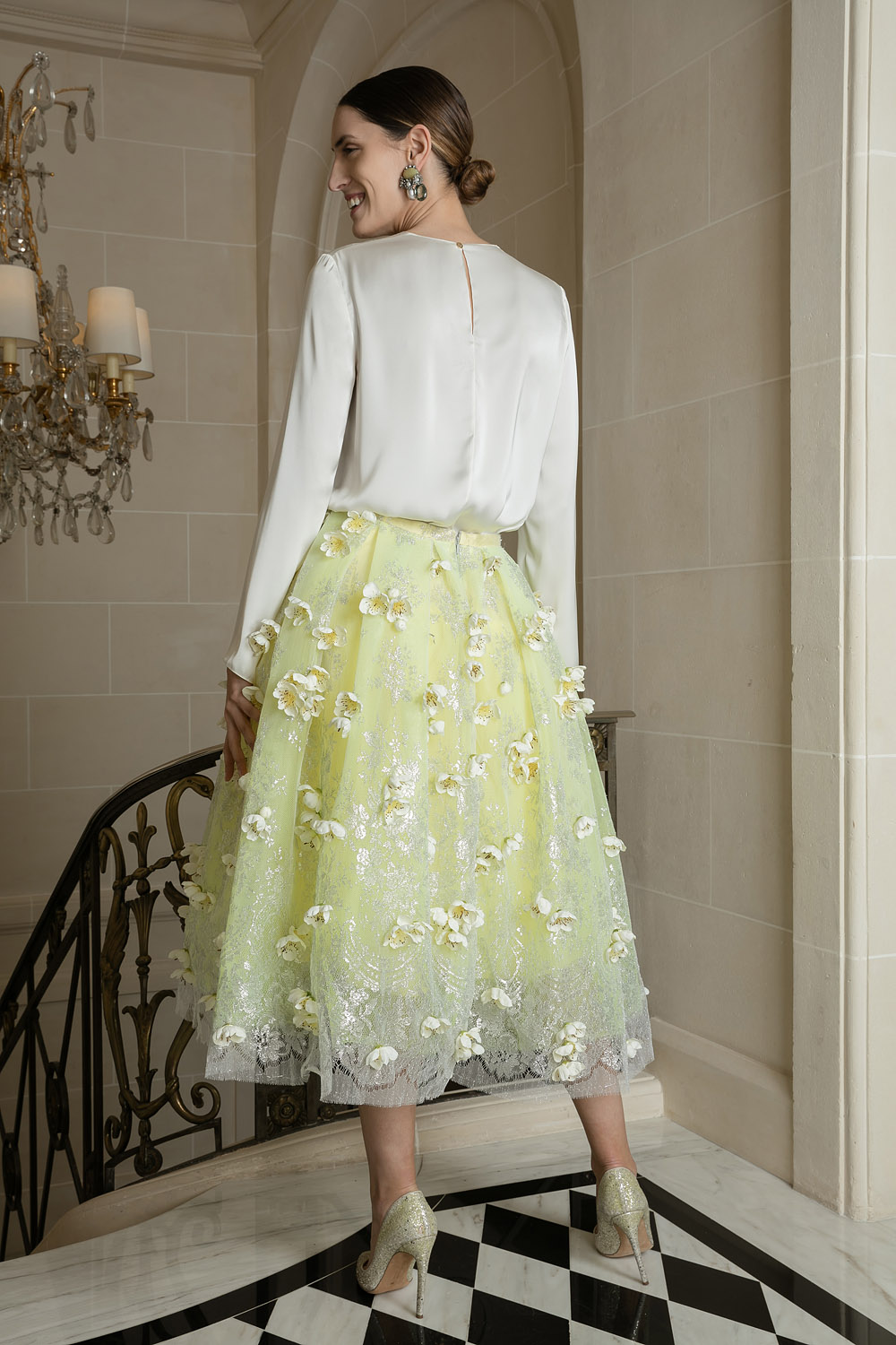 Lemon sorbet frou-frou skirt embellished with lotus blossoms