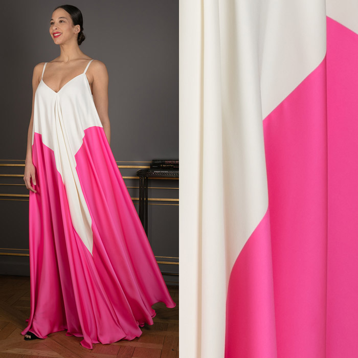 Floor-length white with pink dress